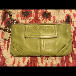 Great green leather Coach wristlet with hang tag!